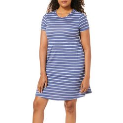 Allison Brittney Womens Horiontal Stripe T-Shirt Dress