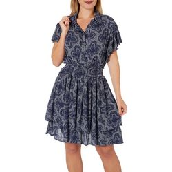 C&C California Womens Printed Ruffle Dress