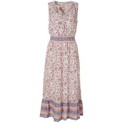 C&C California Womens Printed Elastic Waist Maxi Dress