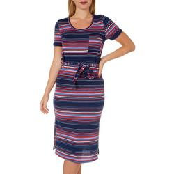 Womens Striped Tie Waist Fitted Dress