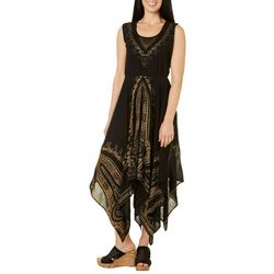 Lola P Womens Embroidered Handkerchief Hem Sundress