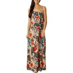 Womens Sleeveless Tropical Floral Print Maxi Dress