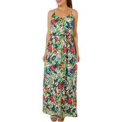 Womens Sleeveless Tropical Floral Design Maxi Dress