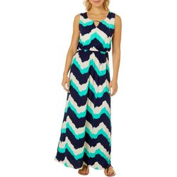 Naif Womens Sleeveless Chevron Keyhole Maxi Dress