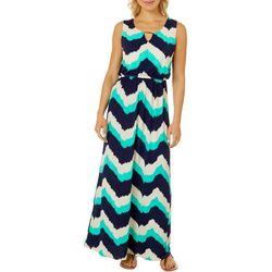 Womens Sleeveless Chevron Keyhole Maxi Dress