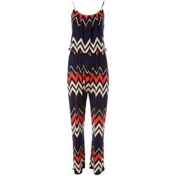 Womens Chevron Print Sleeveless Jumpsuit