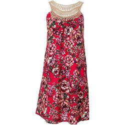 NAIF Womens Floral Crochet Neckline Dress