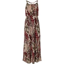 Womens Ring Back Floral Print Maxi Dress