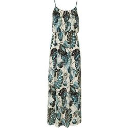 Naif Womens Sleeveless Tropical Leaf Print Maxi Dress