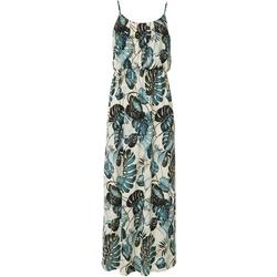 Womens Sleeveless Tropical Leaf Print Maxi Dress