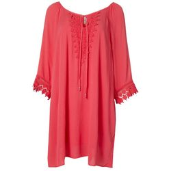Naif Womens Long Sleeve Crochet Trim Gauze Dress
