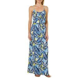 NAIF Womens Tropical Leaf Print Maxi Dress
