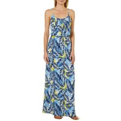 NAIF Womens Tropical Leaf Print Maxi Dress