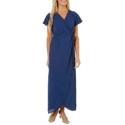Wrapper Womens Striped Wrap Maxi Dress