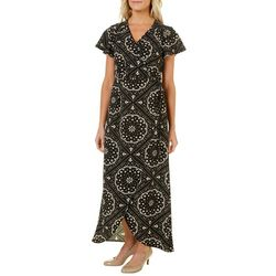 Wrapper Womens Medallion Wrap Maxi Dress