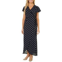 Wrapper Womens Polka Dot Wrap Maxi Dress