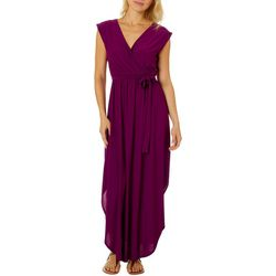 Womens High Low Solid Wrap Maxi Dress