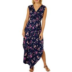 Womens High Low Floral Wrap Maxi Dress