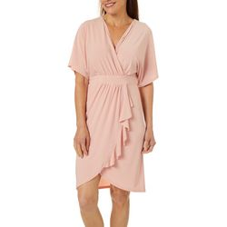 Wrapper Womens Short Sleeve Solid Wrap Dress