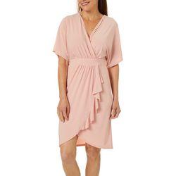 Womens Short Sleeve Solid Wrap Dress