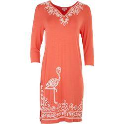 Cabana Cay Womens Embroidered Flamingo Dress