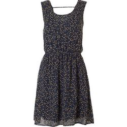 DR2 Womens Floral Print Drawstring Waist Dress