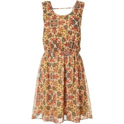 Womens Tile Print Drawstring Waist Dress