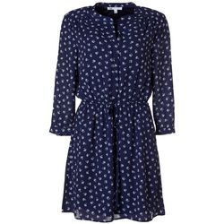 Womens Floral Print Drawstring Waist V-Neck Dress
