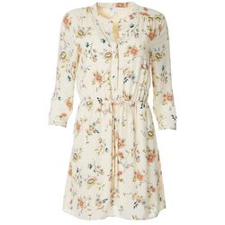 Womens Printed Floral Drawstring Waist V-Neck Dress