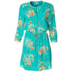 Womens Feminine Floral Drawstring Waist V-Neck Dress