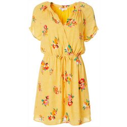 Womens Feminine Floral Print Drawstring Waist Dress