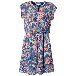 Womens Paisley Print Drawstring Waist Dress