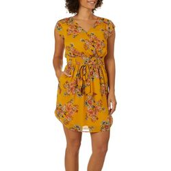 DR2 Womens Floral Print Wrap Tie Waist Dress