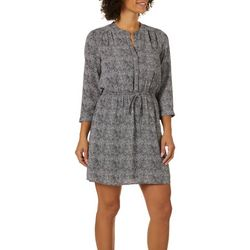 DR2 Womens Printed Drawstring Waist V-Neck Dress