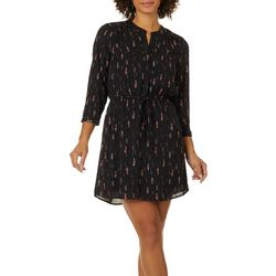 DR2 Womens Feather Print Drawstring Waist V-Neck Dress