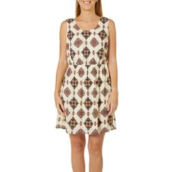DR2 Womens Medallion Print Sleeveless Dress