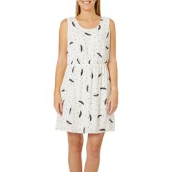 DR2 Womens Feather Print Sleeveless Dress