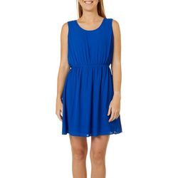 DR2 Womens Solid Sleeveless Dress