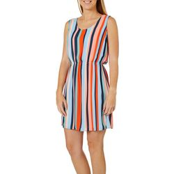 DR2 Womens Vertical Stripe Sleeveless Dress