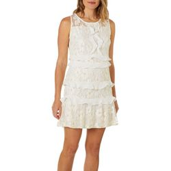 Lapis & Lillies Womens Floral Lace Ruffle Sleeveless Dress
