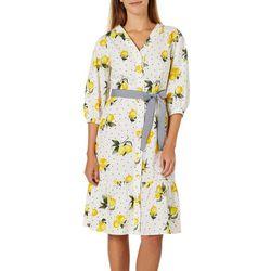 Lapis & Lillies Womens Belted Lemon Dot Print Dress