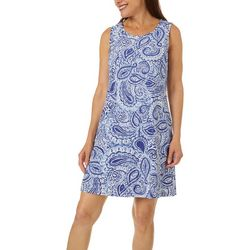 Womens Eyelet Paisley Shift Dress