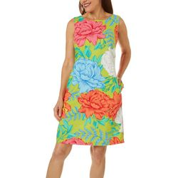 Womens Sleeveless Floral Linen Dress