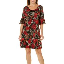 Ronni Nicole Womens Enchanting Floral Bell Sleeve Dress