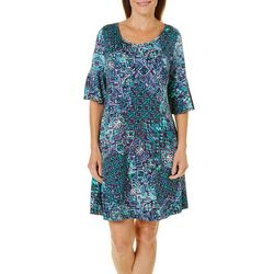 Ronni Nicole Womens Geometric Bell Sleeve Dress