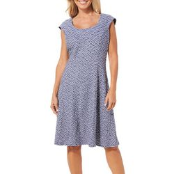 Ronni Nicole Womens Textured Waves Fit & Flare Dress