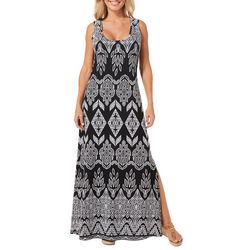 Ronni Nicole Womens Puff Print Maxi Dress