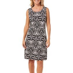 Ronni Nicole Womens Textured Damask Shift Dress