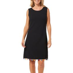 Ronni Nicole Womens Crisscross Pom Pom Trim Dress