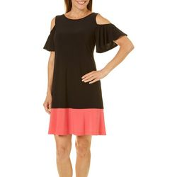 Ronni Nicole Womens Colorblock Cold Shoulder Dress